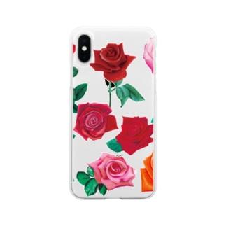 KAERUCAFE SHOPのバラ Soft clear smartphone cases