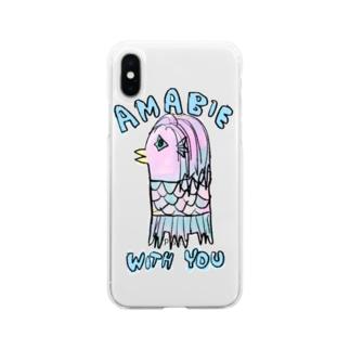 アマビエさんと一緒 Soft clear smartphone cases