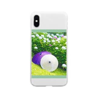 番傘と紫陽花 Soft clear smartphone cases