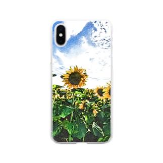 ヒマワリ Soft clear smartphone cases