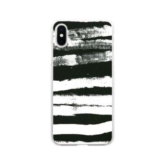 AMINOR (エーマイナー)のアートペイント ストライプBxW Soft clear smartphone cases