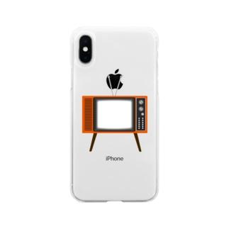 illust_designs_labのレトロな昭和の可愛いテレビのイラスト 画面オン 脚付き  Soft clear smartphone cases