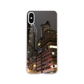 香港の摩天楼 Soft clear smartphone cases
