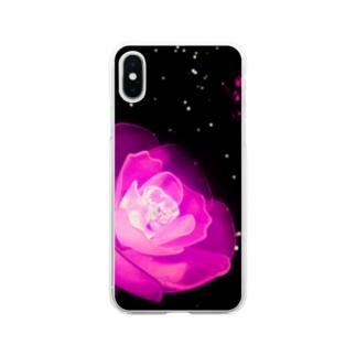 薔薇ライト Soft clear smartphone cases