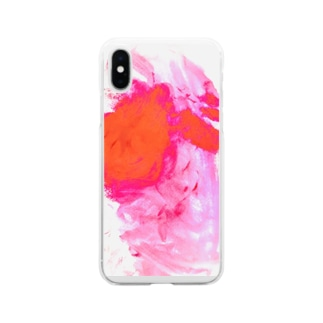 ののの絵_13_ぴんく Soft clear smartphone cases
