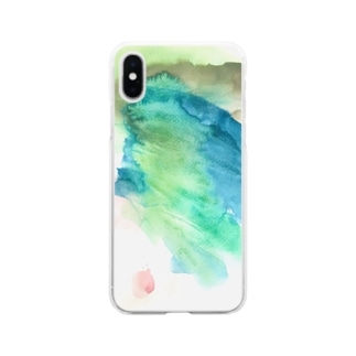 ののの絵_18_みどり Soft clear smartphone cases