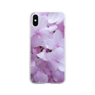 ピンクの紫陽花。 Soft clear smartphone cases