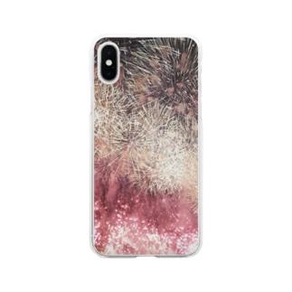 赤川の夜空 Soft clear smartphone cases