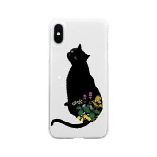 花と黒猫 Soft clear smartphone cases