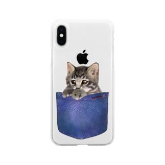 デニムポケットからひょっこり子猫ちゃん Soft clear smartphone cases
