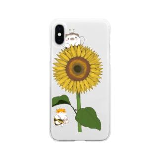 ひまわり畑のはりねずみとハムスター Soft clear smartphone cases