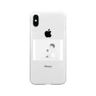 コーヒーを飲む女性(モノトーン) Soft clear smartphone cases
