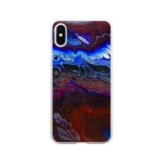 反発する赤と青 Soft clear smartphone cases
