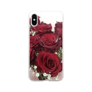 nana05の薔薇 Soft clear smartphone cases