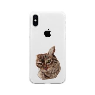 羊毛フェルトのふわふわ貫禄ねこ Soft clear smartphone cases