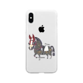 青毛 赤いメンコの競走馬 Soft clear smartphone cases