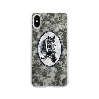 鉱物と馬の肖像(ブラック) Soft clear smartphone cases