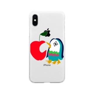satomimitsukiのアップルアマビエ Soft clear smartphone cases