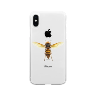 オオスズメバチ女王 Soft clear smartphone cases
