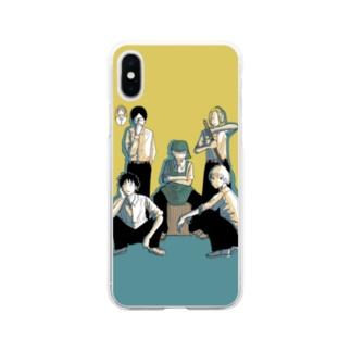 踊るこどもたちの集結 2カラー Soft clear smartphone cases