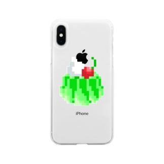 レトロなメロンゼリー(ドット絵) Soft clear smartphone cases