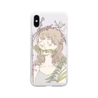 ぼたにかる女の子 Soft clear smartphone cases