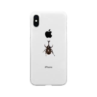 カブトムシ Soft clear smartphone cases