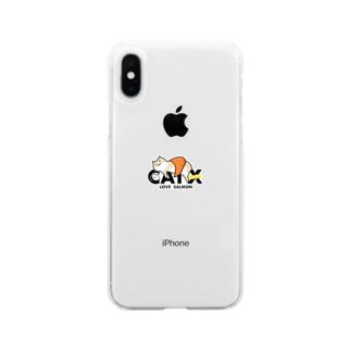 【期間限定】CAT X SALMON Soft clear smartphone cases