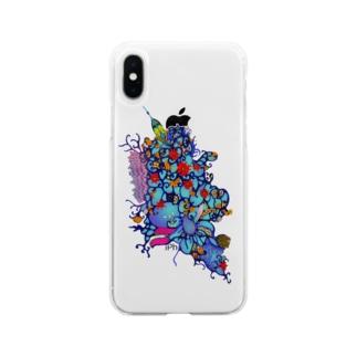 赤花のギョギョ Soft clear smartphone cases