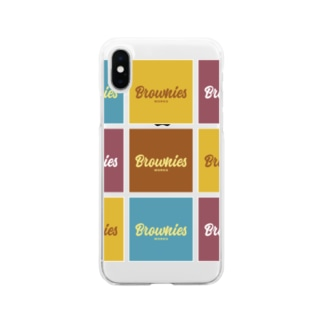 Brownies Worksカラフルロゴ Soft clear smartphone cases