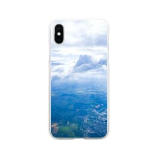 雲と森と街 空 Soft clear smartphone cases