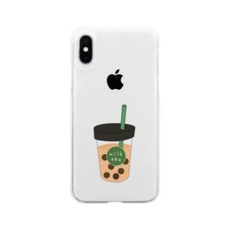タピオカミルクティー Soft clear smartphone cases