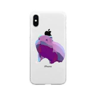 もふもふシングルーモルモット Soft Clear Smartphone Case