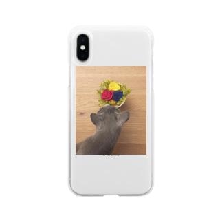 ロシアンブルー小町_花 Soft Clear Smartphone Case
