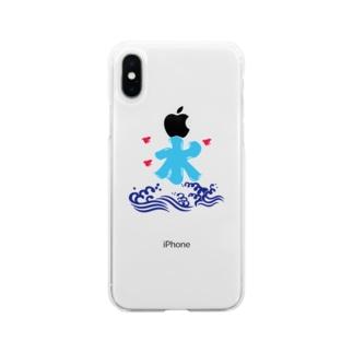 氷解の水(青) Soft clear smartphone cases