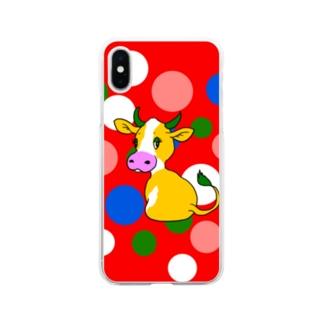 すかまるのおみせのちょっとレトロな牛さん🐄 Soft clear smartphone cases