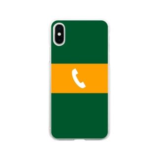 沿線電話(白-電話マーク) スマホケース Soft clear smartphone cases