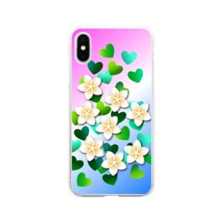 あきじあまみぃのプルメリアと緑のハート Soft clear smartphone cases