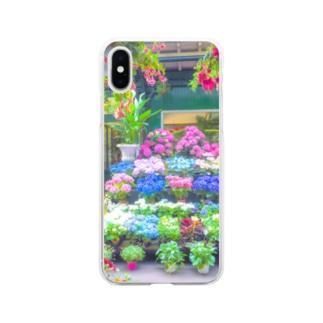 紫陽花 雨の日 アジサイ Soft clear smartphone cases