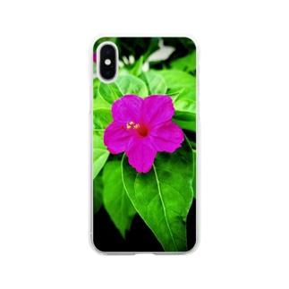 白粉花(オシロイバナ) Soft clear smartphone cases