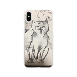 邪悪な猫くん Soft clear smartphone cases
