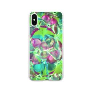 万華鏡 グリーン Soft clear smartphone cases