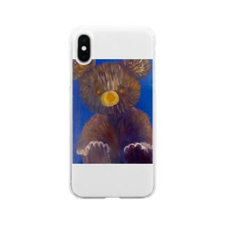 テディベア Soft clear smartphone cases