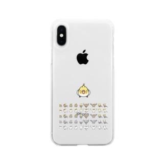 整列オカメインコ隊【まめるりはことり】 Soft clear smartphone cases