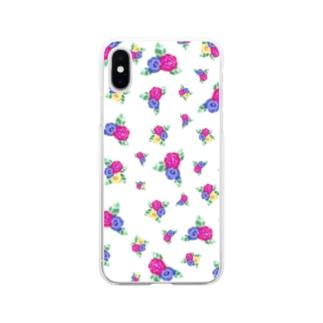白地に三色花柄 Soft clear smartphone cases