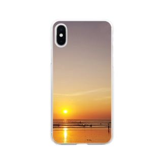 バリ島の夕日 Soft clear smartphone cases