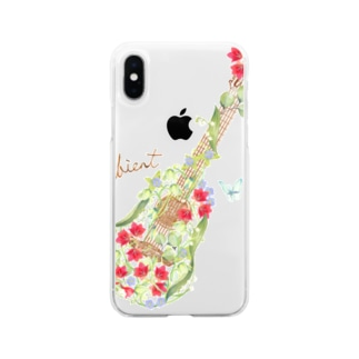 mayapatternのお花ギター Soft clear smartphone cases