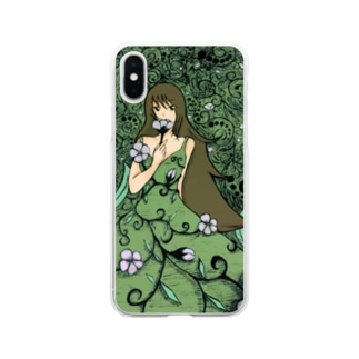 花の妖精 Soft clear smartphone cases