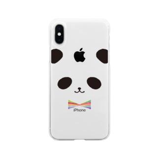 カラフル蝶ネクタイ パンダ Soft clear smartphone cases