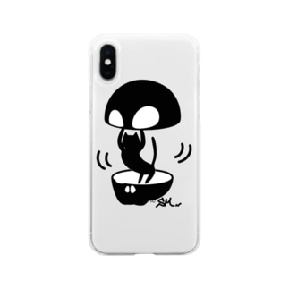 黒猫 Soft clear smartphone cases